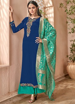 31eb9d5648 Blue Satin Georgette Maskeen Silk Vol 2 6506 By Maisha Palazzo Suit  SC/013004