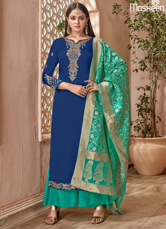 Blue Satin Georgette Maskeen Silk Vol 2 6506 By Maisha Palazzo Suit SC/013004
