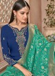 Blue Satin Georgette Maskeen Silk Vol 2 6506 Set By Maisha Palazzo Suit SC/012998