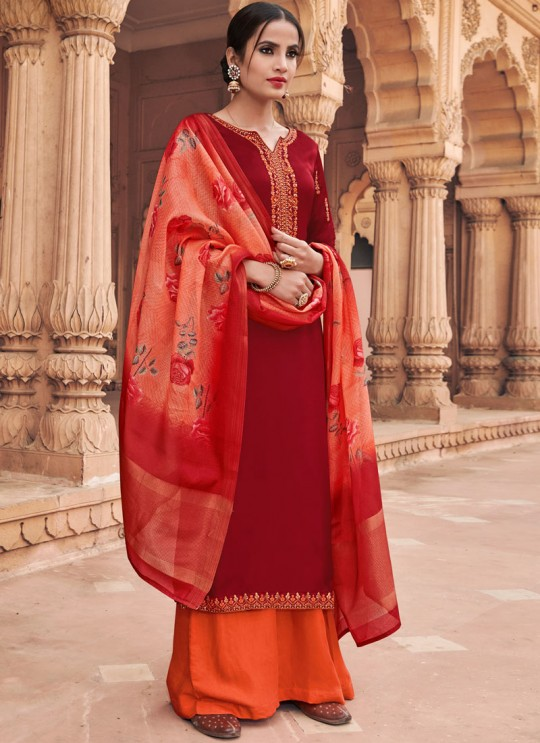 Maroon Satin Georgette Maskeen Silk Vol 3 6601 By Maisha Palazzo Suit SC/013426
