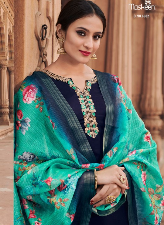 Blue Satin Georgette Maskeen Silk Vol 3 6602 By Maisha Palazzo Suit  SC/013427