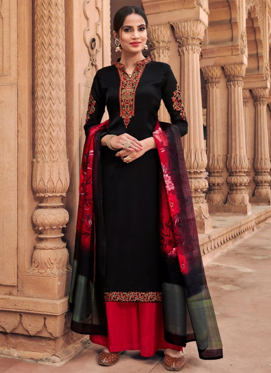 Black Satin Georgette Maskeen Silk Vol 3 6603 By Maisha Palazzo Suit SC/013428