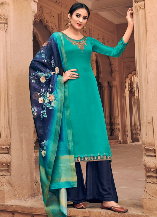 Teal Blue Satin Georgette Maskeen Silk Vol 3 6604 By Maisha Palazzo Suit SC/013429