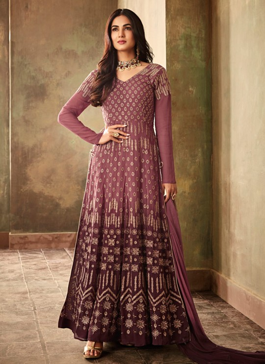 Purple Georgette  Wedding Wear Floor Length Anarkali Aafreen 6706 By Maisha SC/013825
