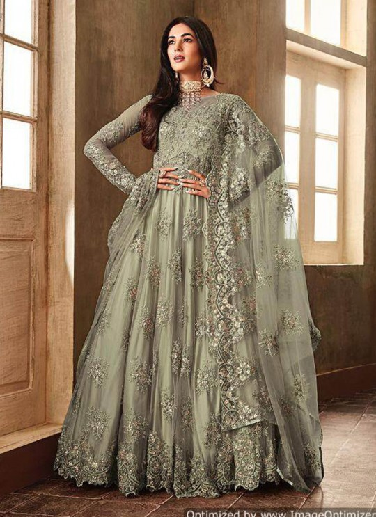 Green Net  Wedding Wear Floor Length Anarkali Aafreen 6701B Color By Maisha SC/014396