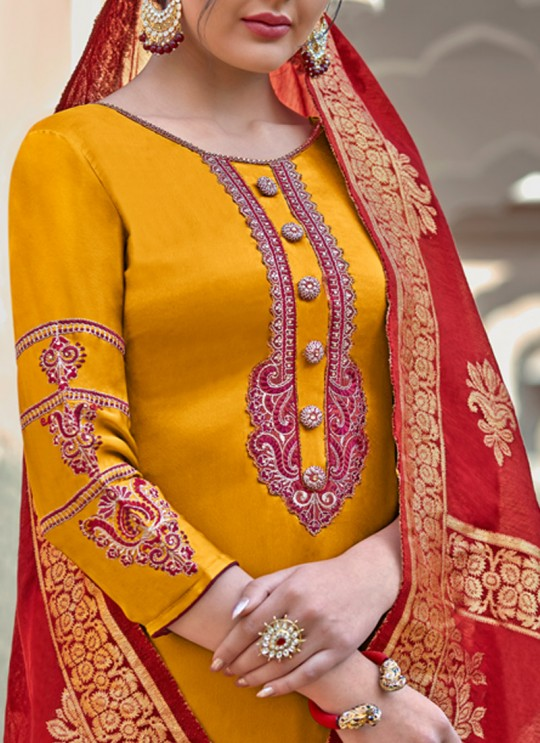 Yellow Party Wear Straight Cut Suits Banarsi Silk Harleen 7802 By Maisha SC/016030