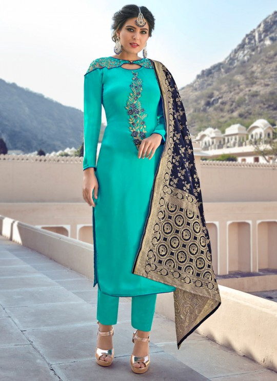 Turquoise Party Wear Straight Cut Suits Banarsi Silk Harleen 7804 By Maisha SC/016032