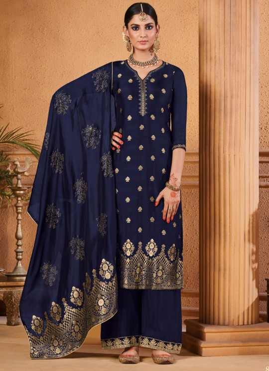 Party Wear Jacquard Palazzo Suit In Blue  Hoor 8501 By Maisha MAI-8501