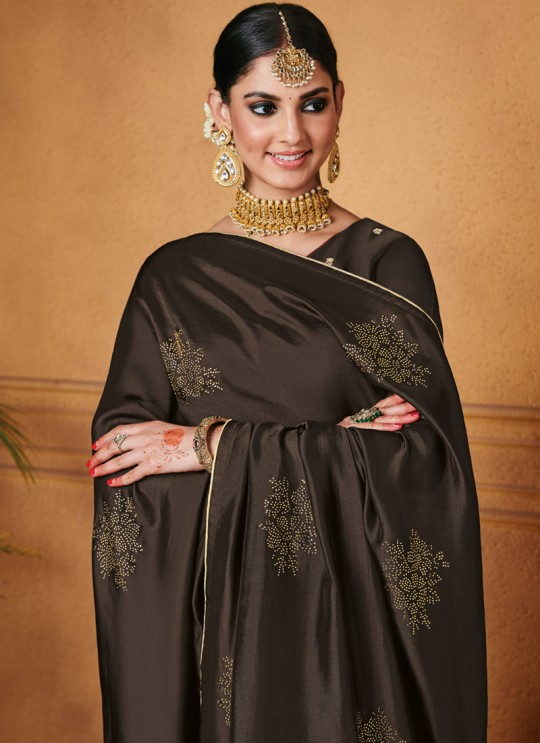 Party Wear Jacquard Palazzo Suit In Coffee  Hoor 8502 By Maisha MAI-8502