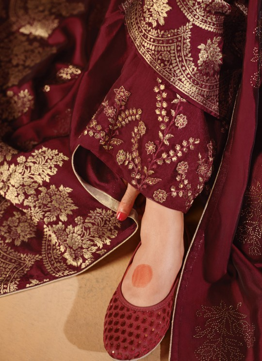 Party Wear Jacquard Palazzo Suit In Maroon  Hoor 8503 By Maisha MAI-8503