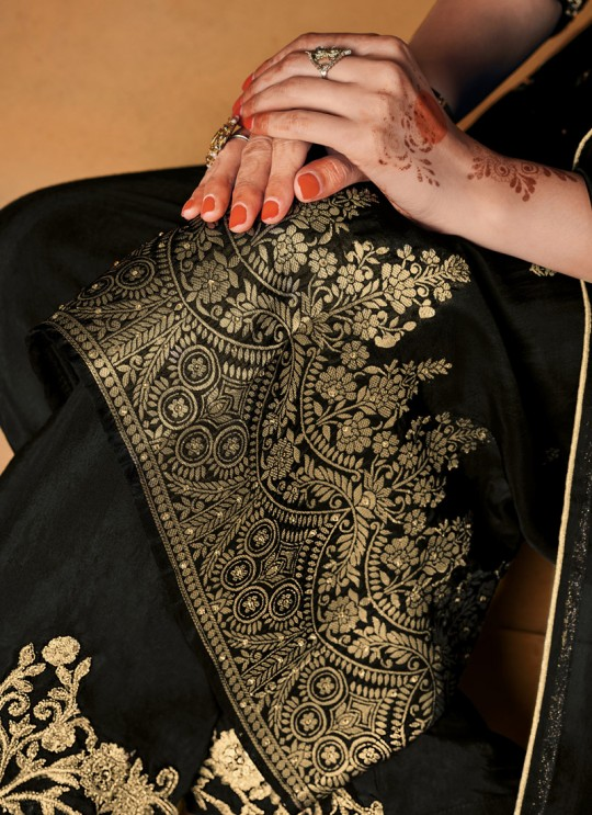 Party Wear Jacquard Palazzo Suit In Black  Hoor 8504 By Maisha MAI-8504