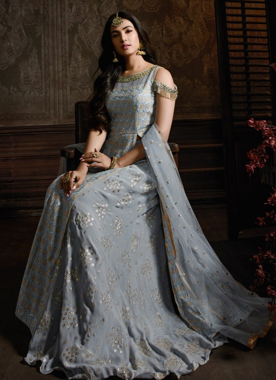 Inayat By Maisha 8601 Grey Georgette Pakistani Bridal Palazzo Suit