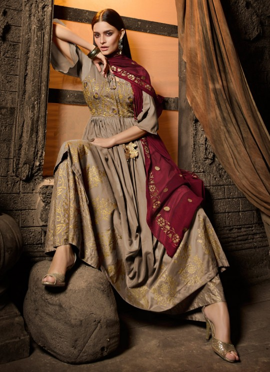 Beige Masleen Palazzo Suit For Wedding Ceremony Mahira 7501 By Maisha SC/015876