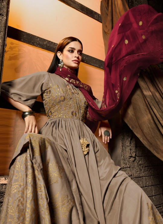 Beige Masleen Palazzo Suit For Ceremony Mahira 7501 Set By Maisha SC/015882
