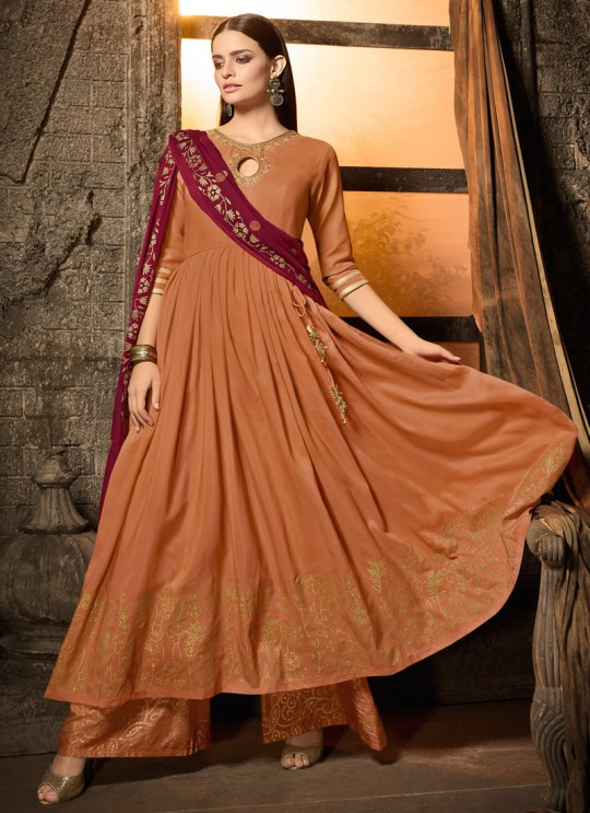 Orange Masleen Palazzo Suit For Wedding Ceremony Mahira 7502 By Maisha SC/015877