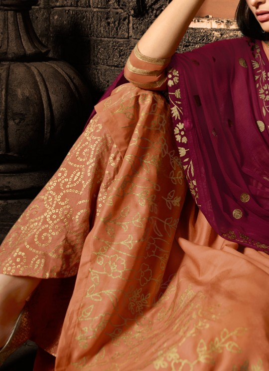 Orange Masleen Palazzo Suit For Ceremony Mahira 7502 Set By Maisha SC/015882