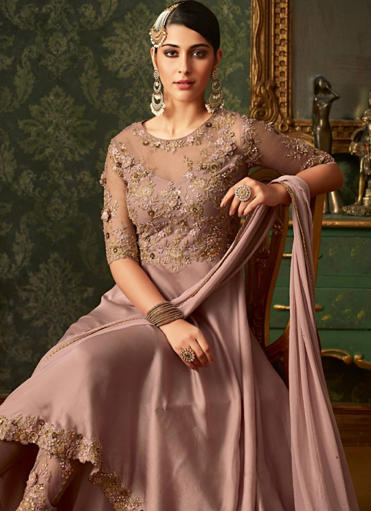 Dusty Pink Rangoli Wedding Wear Embroidered Gown Style Anarkali Suit Queen Of Hearts 7101 By Maisha SC/015103