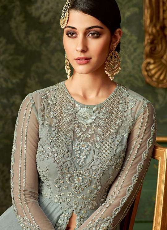 Grey Rangoli Wedding Wear Embroidered Pant Style Suit Queen Of Hearts 7102 By Maisha SC/015104
