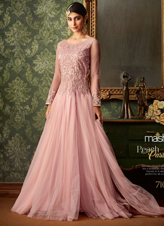 Pink Net Wedding Wear Embroidered Gown Style Anarkali Suit Queen Of Hearts 7104 Set By Maisha SC/015110