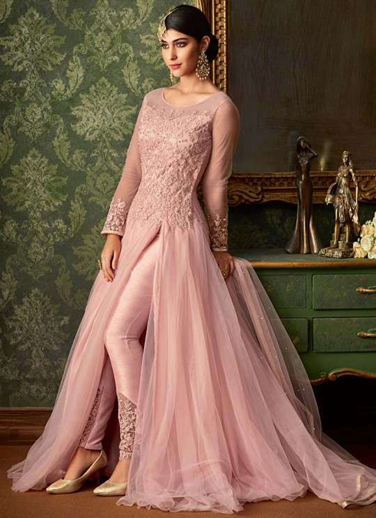 Pink Net Wedding Wear Embroidered Gown Style Anarkali Suit Queen Of Hearts 7104 By Maisha SC/015106