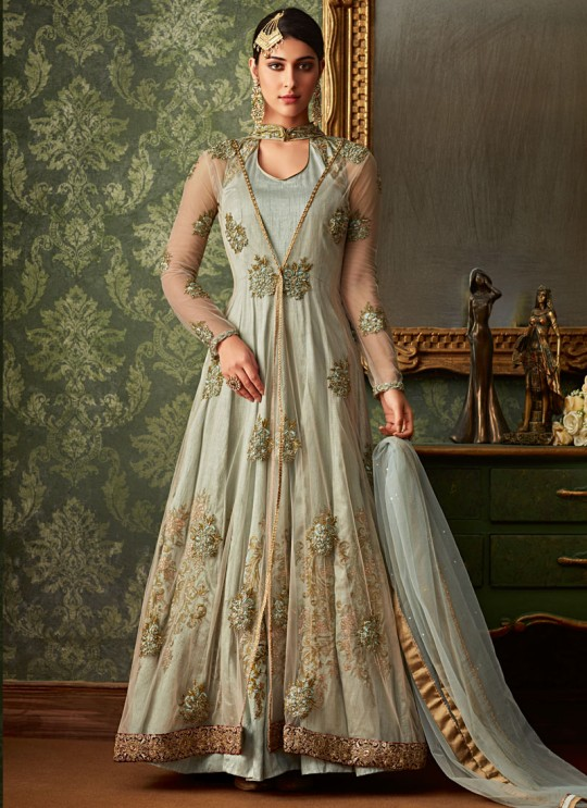 Grey Net And Silk Wedding Wear Embroidered Floor Length Anarkali Suit Queen Of Hearts 7105 Set By Maisha SC/015110