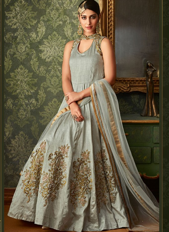 Grey Net And Silk Wedding Wear Embroidered Floor Length Anarkali Suit Queen Of Hearts 7105 By Maisha SC/015107