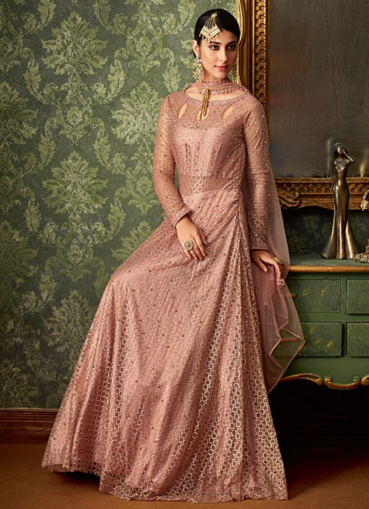 Pink Jacquard Wedding Wear Embroidered Gown Style Anarkali Suit Queen Of Hearts 7106 By Maisha SC/015108
