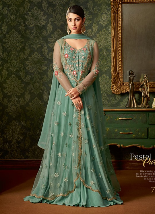 Sea Green Rangoli And Net Wedding Wear Embroidered Gown Style Anarkali Suit Queen Of Hearts 7107 By Maisha SC/015109