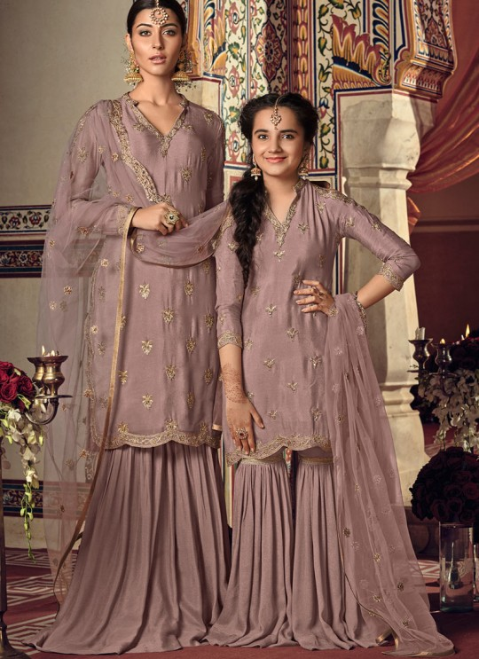 Mauve Rangoli Georgette Mother & Daughter Wedding Wear Sharara Kameez Riwaayat Kids 6904 By Maisha Maskeen SC/014219