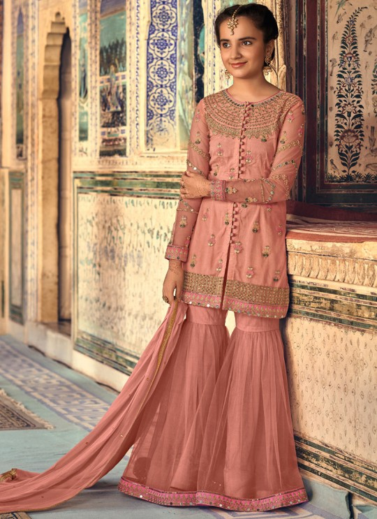Peach Net Mother & Daughter Wedding Wear Sharara Kameez Riwaayat Kids 6907 By Maisha Maskeen SC/014222
