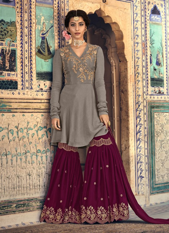 Grey Rangoli Georgette Mother & Daughter Wedding Wear Sharara Kameez Riwaayat 6901 By Maisha Maskeen SC/014209