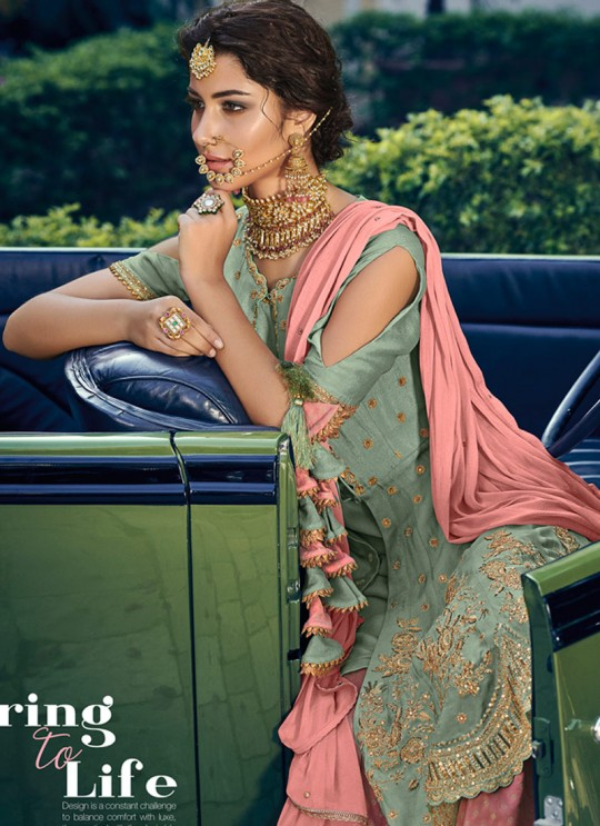 Pista Green Rangoli Georgette Mother & Daughter Wedding Wear Sharara Kameez Riwaayat 6905 By Maisha Maskeen SC/014213