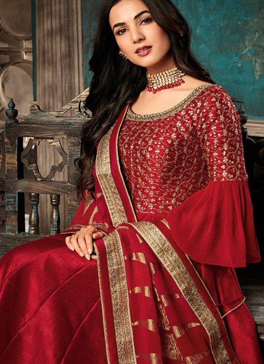 Alluring Red Pure Silk Gown Style Anarkali For Ceremony Sazia 7401 By Maisha SC/016177