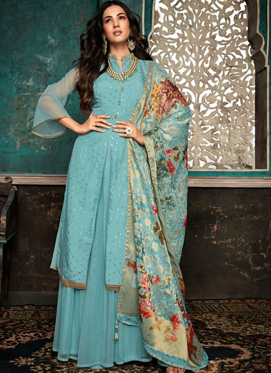 Delightful Turquoise Pure Silk Gown Style Anarkali For Ceremony Sazia 7403 By Maisha SC/016179