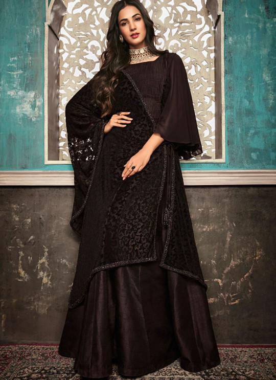 Blissful Brown  Pure Silk Gown Style Anarkali For Ceremony Sazia 7404 By Maisha SC/016180