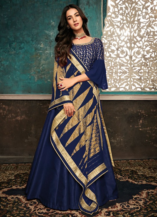 Captivating Royal Blue Pure Silk Gown Style Anarkali For Ceremony Sazia 7407 By Maisha SC/016183