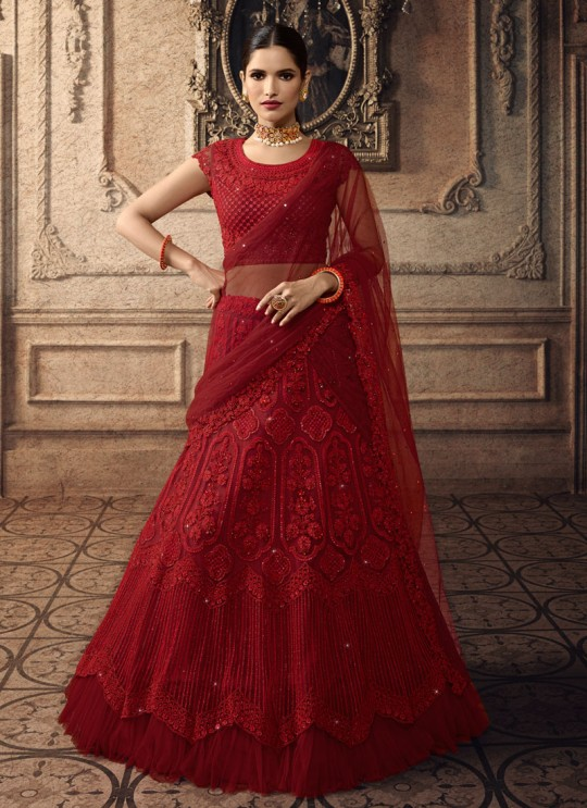 Maroon Net Lengha Choli For Indian Bride Vivaana 20002 By Maisha