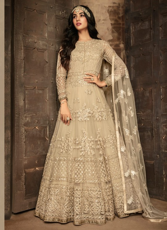 Net Gown Style Anarkali For Wedding Ceremony In Beige Color Aafreen Vol 2 7201 By Maisha SC/015412
