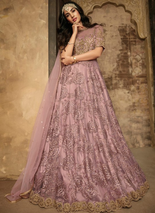 Gown Style Anarkali For Wedding Ceremony In Lavender Color Aafreen Vol 2 7202 By Maisha SC/015413