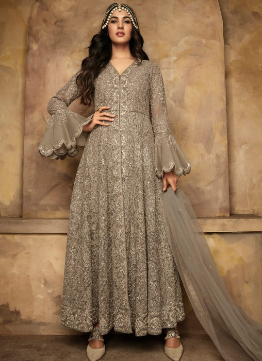 Gown Style Anarkali For Wedding Ceremony In Grey Color Net Aafreen Vol 2 7203 By Maisha SC/015414
