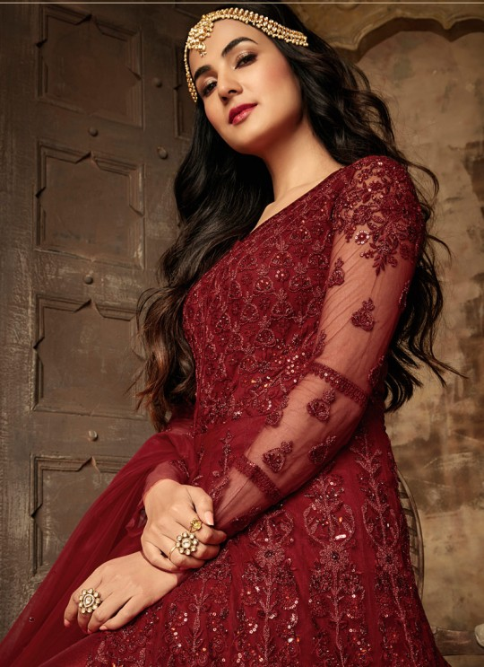 Net Gown Style Anarkali For Wedding Ceremony In Maroon Color Aafreen Vol 2 7204 By Maisha SC/015415