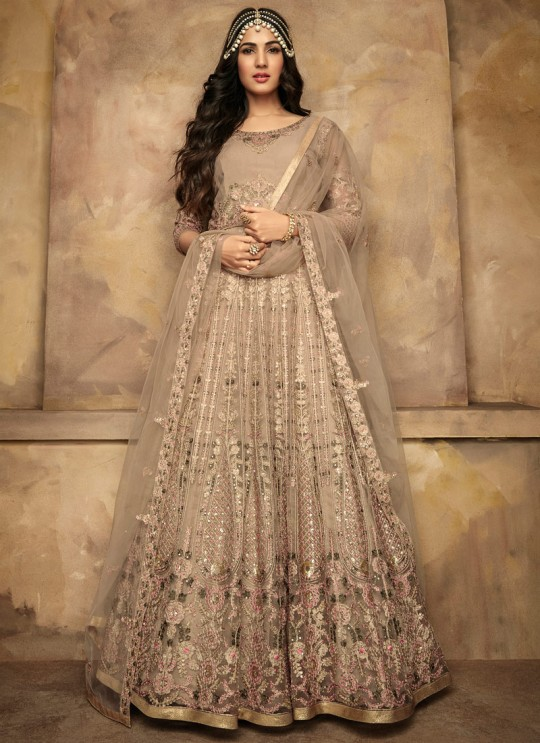 Latest Net Gown Style Anarkali For Wedding Ceremony In Beige Color Aafreen Vol 2 7205 By Maisha SC/015416