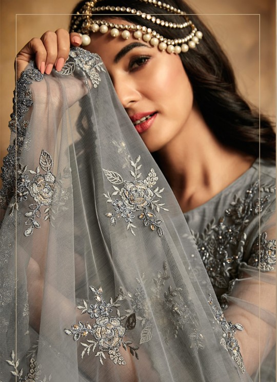 Trendy Net Gown Style Anarkali For Wedding Ceremony In Grey Color Aafreen Vol 2 7206 By Maisha SC/015417