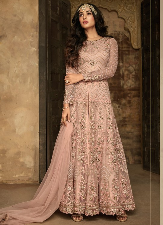 Beautiful Net Gown Style Anarkali For Wedding Ceremony In Peach Color Aafreen Vol 2 7207 By Maisha SC/015418