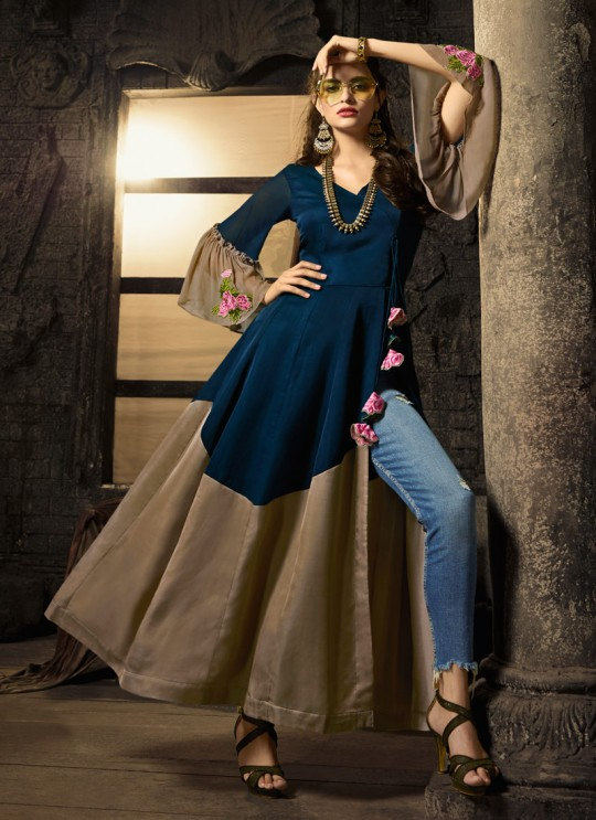 Navy Blue Cotton Satin Party Wear Indo Western Kurti Meave 7901 By Maisha  SC/016319 Size L