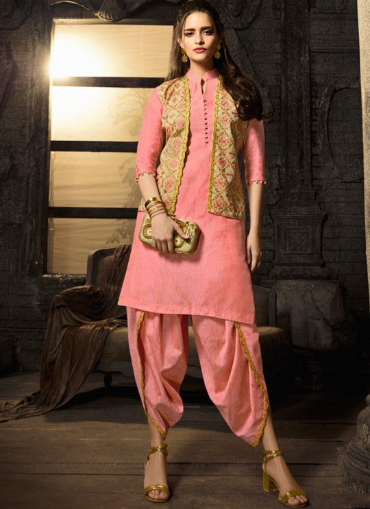 Peach Linen Cotton Party Wear Indo Western Kurti Meave 7902 By Maisha  SC/016322 Size XL