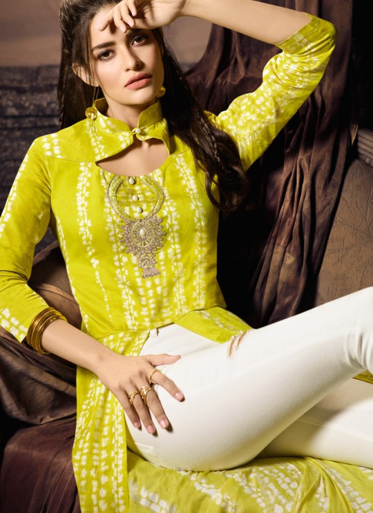 Yellow Cotton Satin Party Wear Indo Western Kurti Meave 7904 By Maisha  SC/016326 Size XL