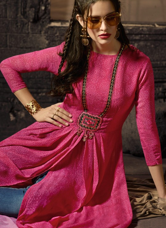 Pink Georgette Party Wear Indo Western Kurti Meave 7905 By Maisha  SC/016328 Size XL