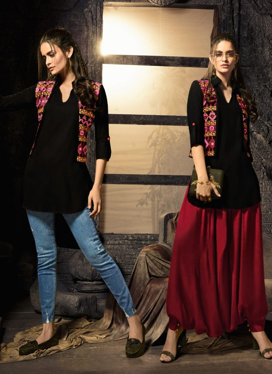 Black Pure Cotton Party Wear Indo Western Kurti Meave 7906 By Maisha  SC/016330 Size XL