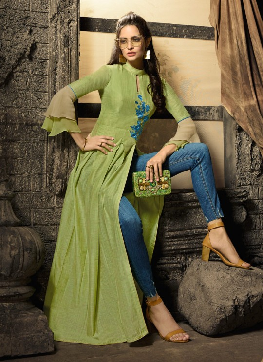 Green Linen Cotton Party Wear Indo Western Kurti Meave 7907 By Maisha  SC/016332 Size XL